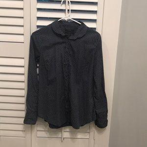 J.Crew nave polka dot women's dress shirt